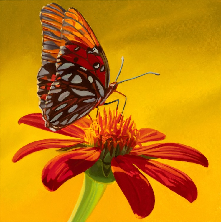 Etonnant Flower With Butterfly I 12x12 2012 ...